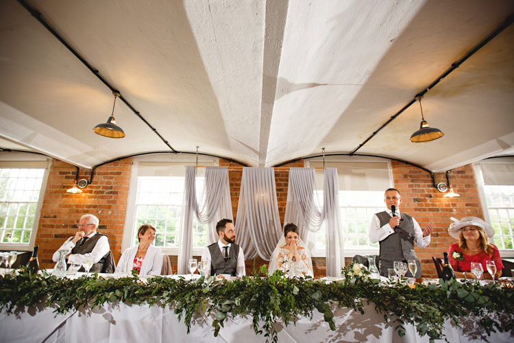 Top Table Swag Foliage Drapes Fabrid Backdrop Industrial Rose Gold Dove Grey Greenery Wedding http://hbaphotography.com/