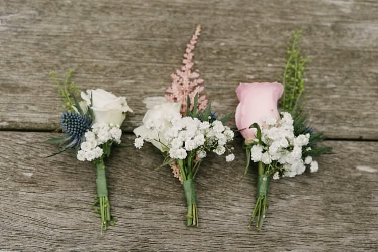 Buttonhole Corsage Rose Thistle Gypsophila Crafty Pretty Pastel Budget Wedding http://lilysawyer.com/