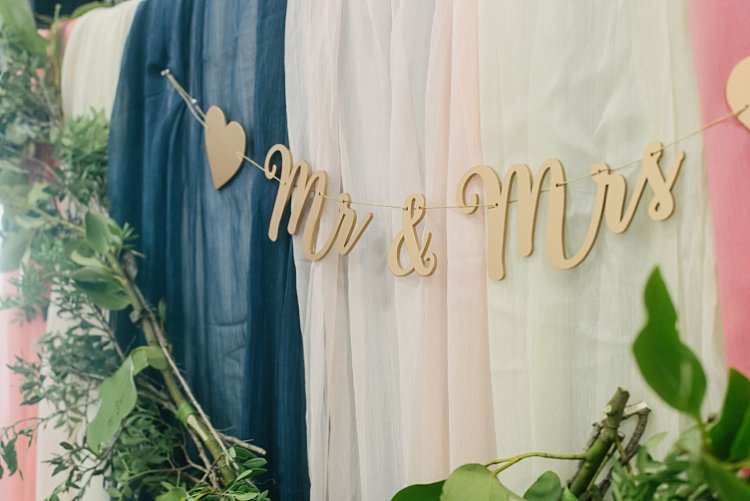 Mr & Mrs Bunting Garland Cut Out Voile Drapes Backdrop Crafty Pretty Pastel Budget Wedding http://lilysawyer.com/
