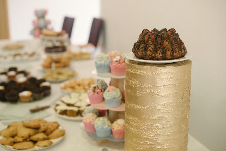 Cake Table Sweet Treats Gold Log Crafty Pretty Pastel Budget Wedding http://lilysawyer.com/
