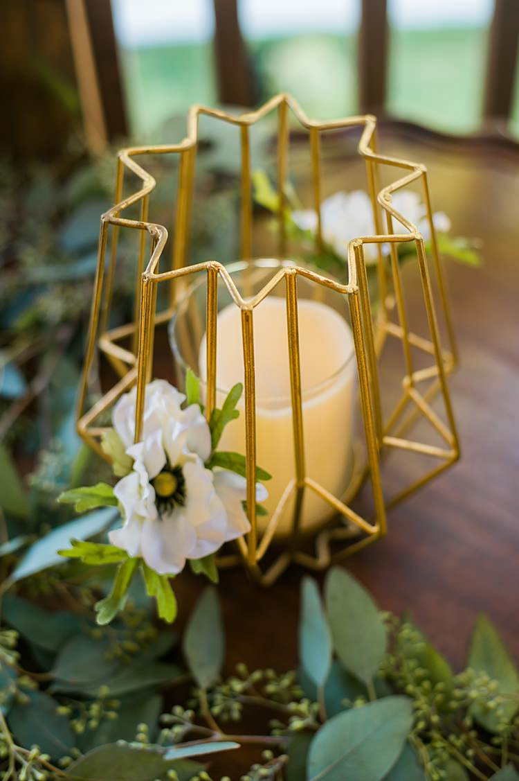 Table Setting Gold Candles Greenery Whimsical Woods Wedding Barn Ohio http://www.connectionphotoblog.com/