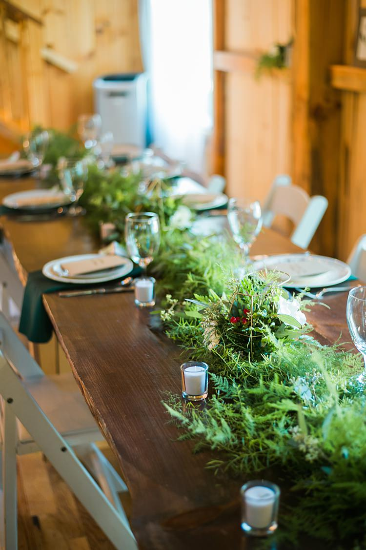 Greenery Table Runner Candles Place Setting Whimsical Woods Wedding Barn Ohio http://www.connectionphotoblog.com/