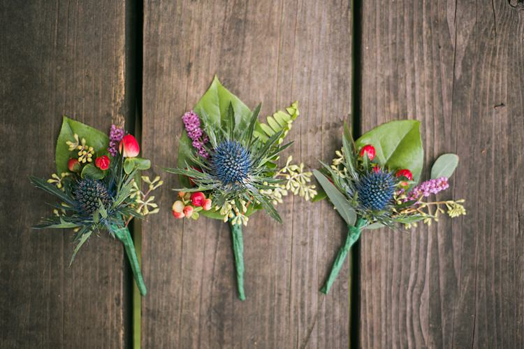 Buttonholes Greenery Thistles Whimsical Woods Wedding Barn Ohio http://www.connectionphotoblog.com/