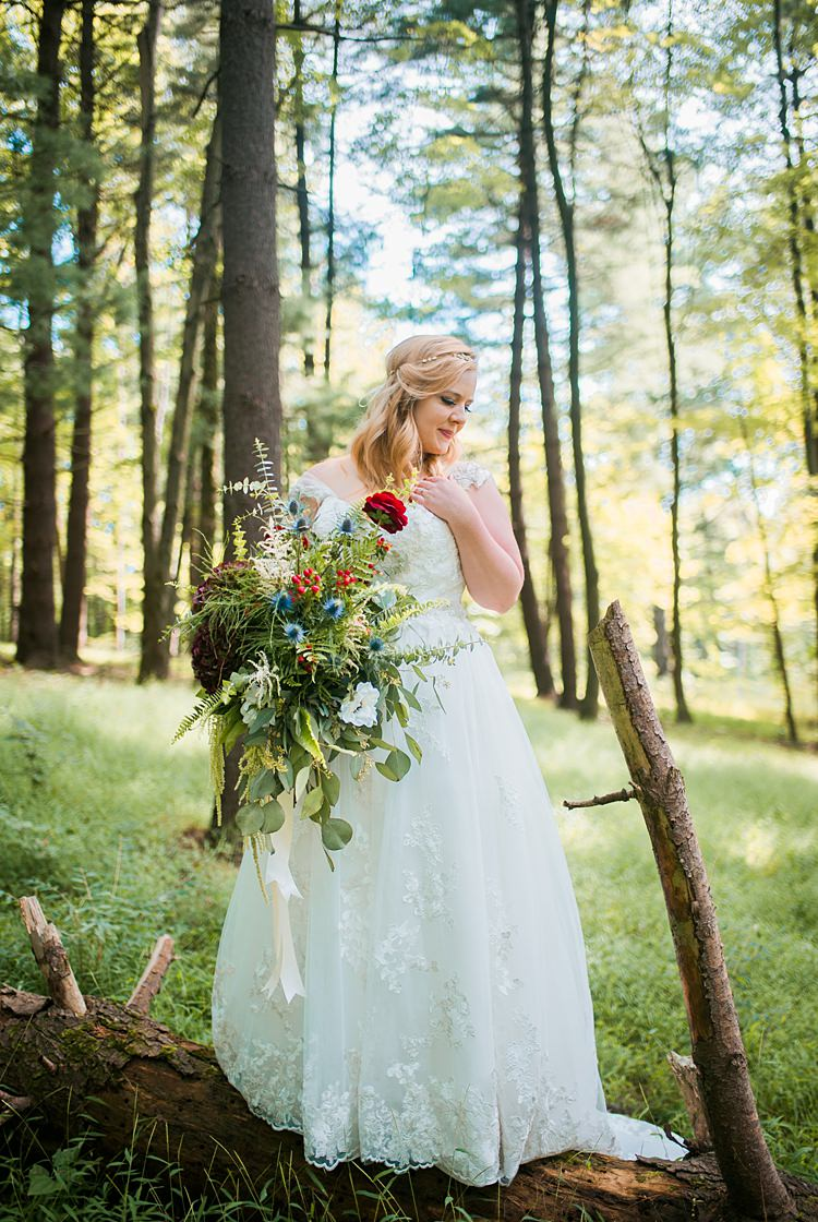 A Line Lace Cap Sleeve Bride Outdoors Greenery Foliage Bouquet Whimsical Woods Wedding Barn Ohio http://www.connectionphotoblog.com/