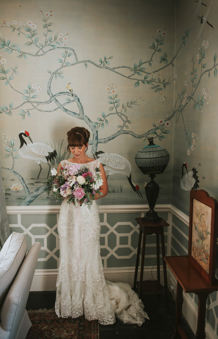 Lace Tier Dress Bridal Bride Gown Herbs Flowers Home Made Walled Garden Wedding https://www.rosiekelly.co.uk/