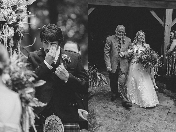 Groom Crying Tears Bride Walking Aisle Father of Bride A Line Gown Lace Whimsical Woods Wedding Barn Ohio http://www.connectionphotoblog.com/