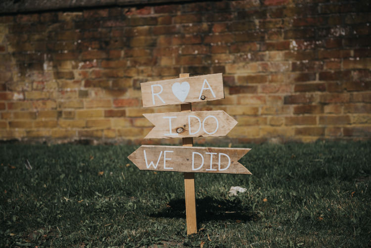 Wooden Sign Post Herbs Flowers Home Made Walled Garden Wedding https://www.rosiekelly.co.uk/