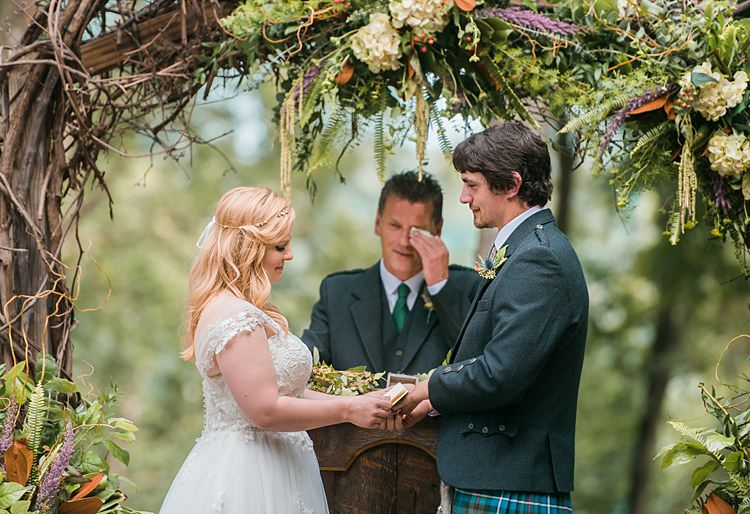 Bride Groom Ceremony Vows Tartan Kilt Dress Cap Sleeve Lace Curls Archway Branches Whimsical Woods Wedding Barn Ohio http://www.connectionphotoblog.com/