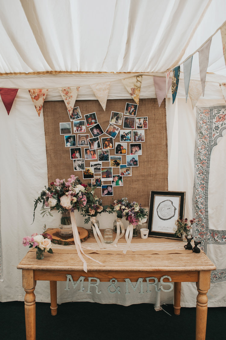 Flowers Photo Wall Antique Pine Table Bunting Herbs Flowers Home Made Walled Garden Wedding https://www.rosiekelly.co.uk/
