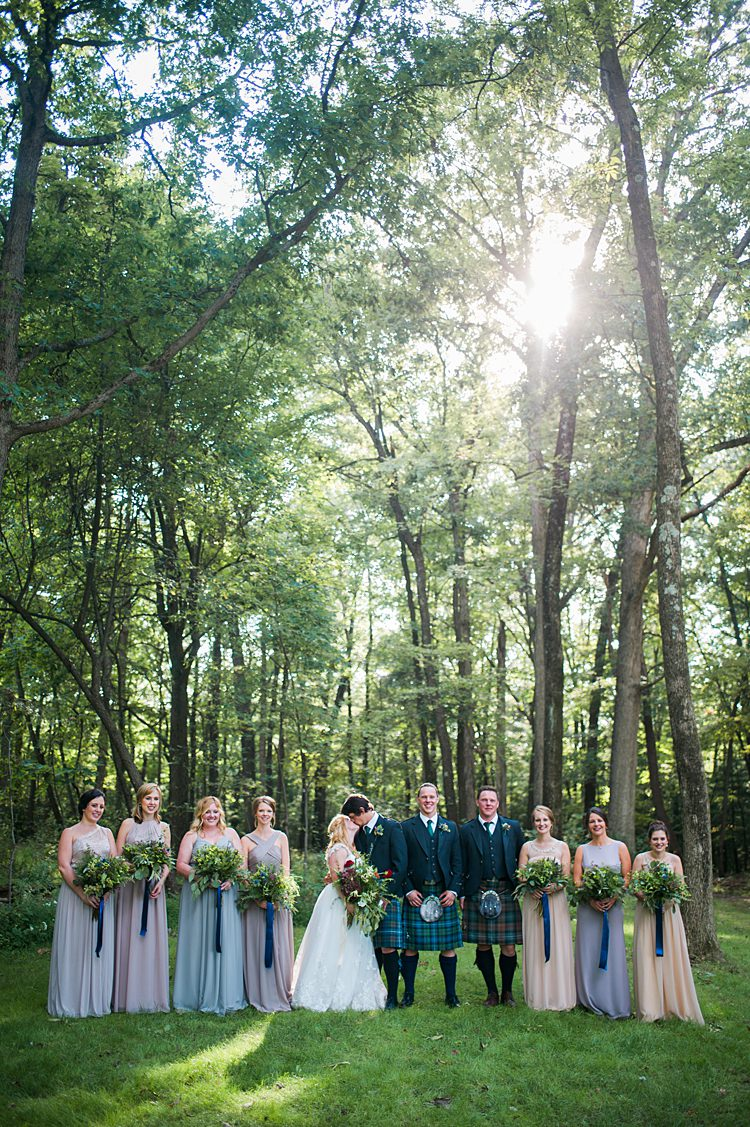 Bridal Party Kiss Kilt Tartan Mismatched Bridesmaid Gowns Pastel Bouquets Greenery Ribbons Forest Outdoors Whimsical Woods Wedding Barn Ohio http://www.connectionphotoblog.com/