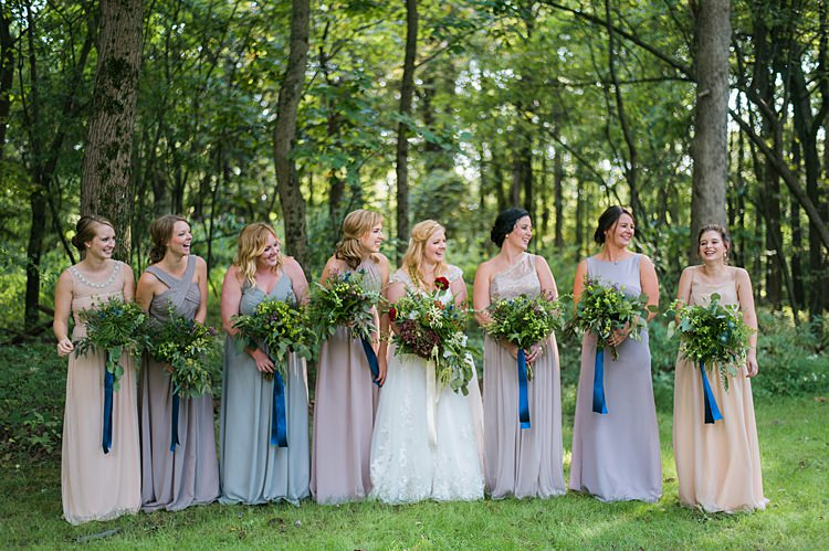 Mismatched Bridesmaid Dresses Pastel Blue Ribbon Bouquets Greenery Reds Lace Gown Whimsical Woods Wedding Barn Ohio http://www.connectionphotoblog.com/