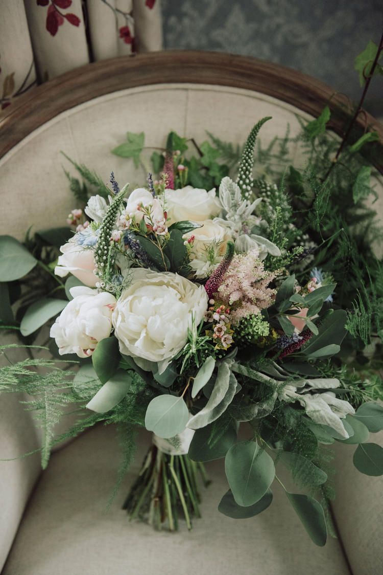 Bouquet Greenery Flowers Peony Rose Bride Bridal Enchanting Ancient Forest Wedding http://donnamurrayphotography.com/