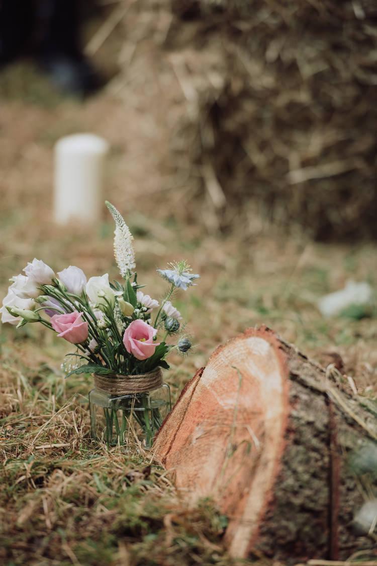 Log Decor Flowers Jar Aisle Enchanting Ancient Forest Wedding http://donnamurrayphotography.com/