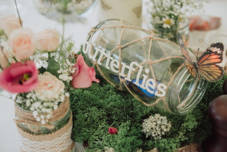 Butterfly Table Name Decor Moss Flowers Jar Enchanting Ancient Forest Wedding http://donnamurrayphotography.com/