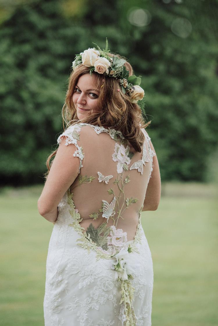 Claire Pettibone Papillion Dress Gown Bride Bridal Illusion Back Butterflies Greenery Enchanting Ancient Forest Wedding http://donnamurrayphotography.com/
