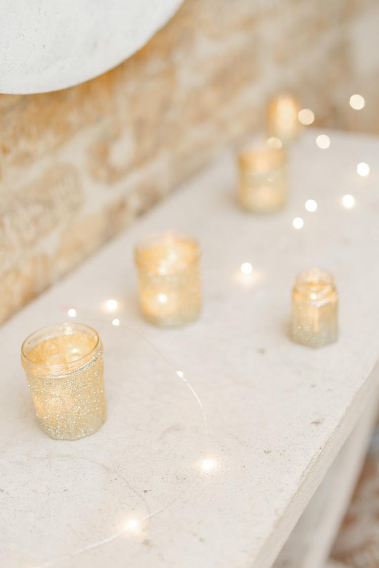 Gold Glitter Tea Light Candles Fairy Lights Romantic Rustic Blush Pink Wedding http://whitestagweddings.com/