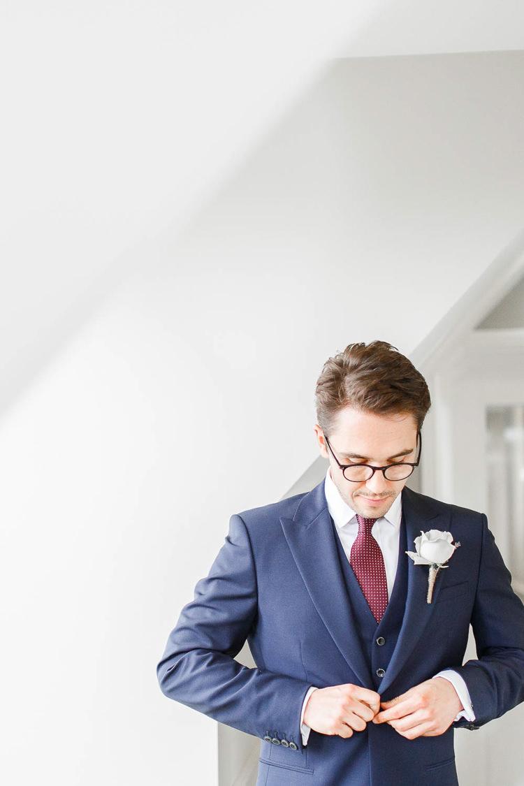 Groom Glasses Navy Suit Romantic Rustic Blush Pink Wedding http://whitestagweddings.com/