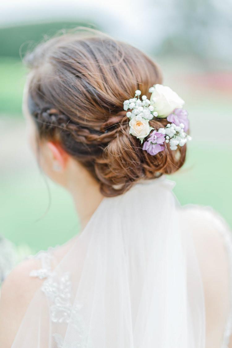 Hair Up Do Style Bride Bridal Flowers Romantic Rustic Blush Pink Wedding http://whitestagweddings.com/
