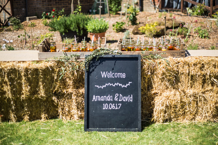 Blackboard Welcome Sign Chalk Board Hay Bales Pimms Natural Outdoor Tipi Wedding https://www.ad-photography.co.uk/