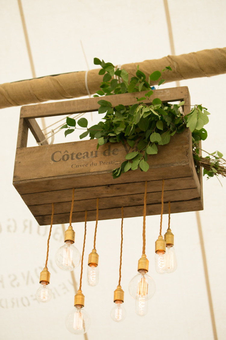 Marquee Lighting Crate Wooden Foliage Greenery Edison Light Bulb Quirky Rustic Farm Wedding https://ragdollphotography.co.uk/