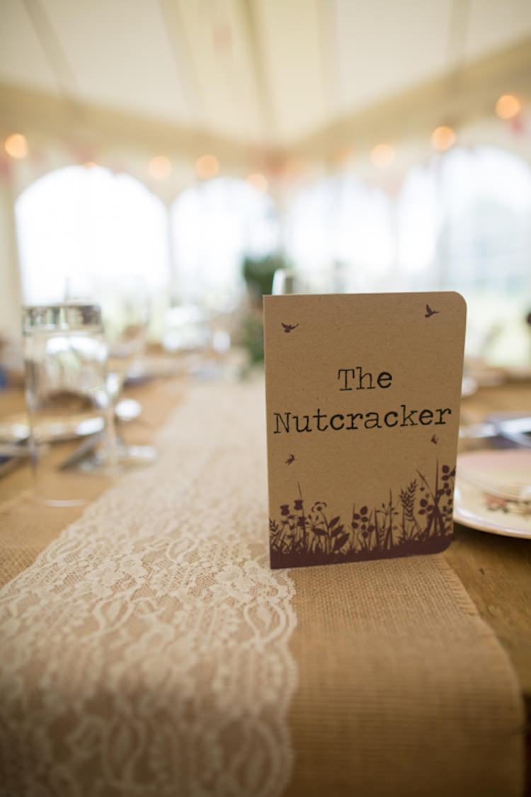 Table Name Centre Lace Runner Quirky Rustic Farm Wedding https://ragdollphotography.co.uk/