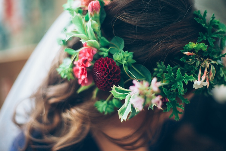 Flower Crown Bride Bridal Dahlia Greenery Eco Friendly Floral Filled Wedding http://kellyjphotography.co.uk/