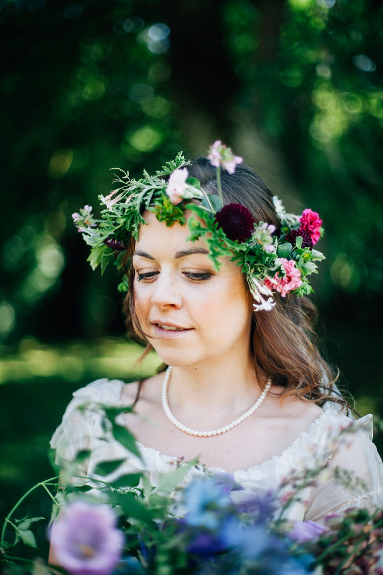Flower Crown Make Up Bride Bridal Eco Friendly Floral Filled Wedding http://kellyjphotography.co.uk/
