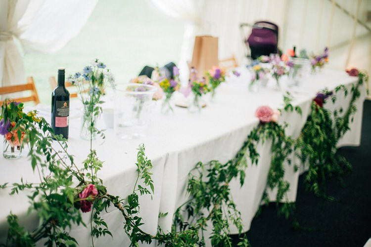 Greenery Foliage Swag Top Table Eco Friendly Floral Filled Wedding http://kellyjphotography.co.uk/