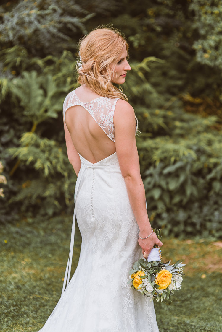 Key Hole Back Dress Gown Lace Bride Bridal Laid Back Summer Garden Party Wedding Stretch Tent http://joemallenphotography.co.uk/