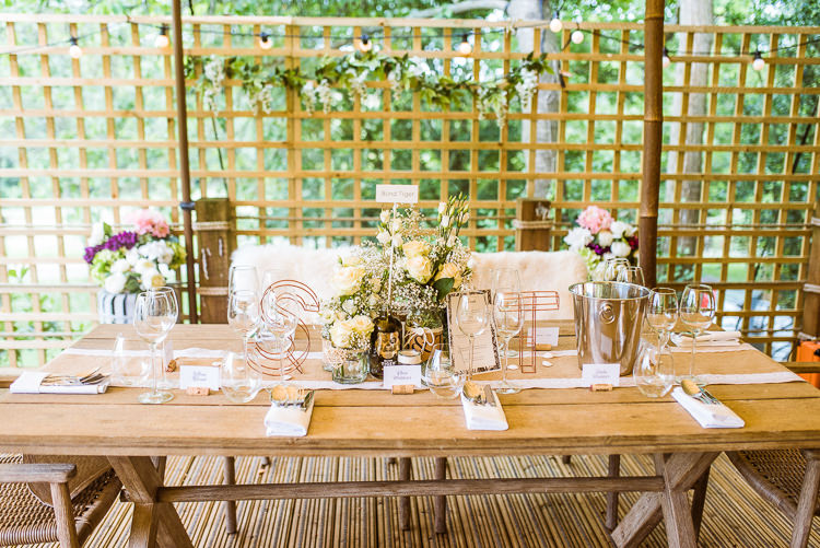 Rustic Tables Decorations Laid Back Summer Garden Party Wedding Stretch Tent http://joemallenphotography.co.uk/
