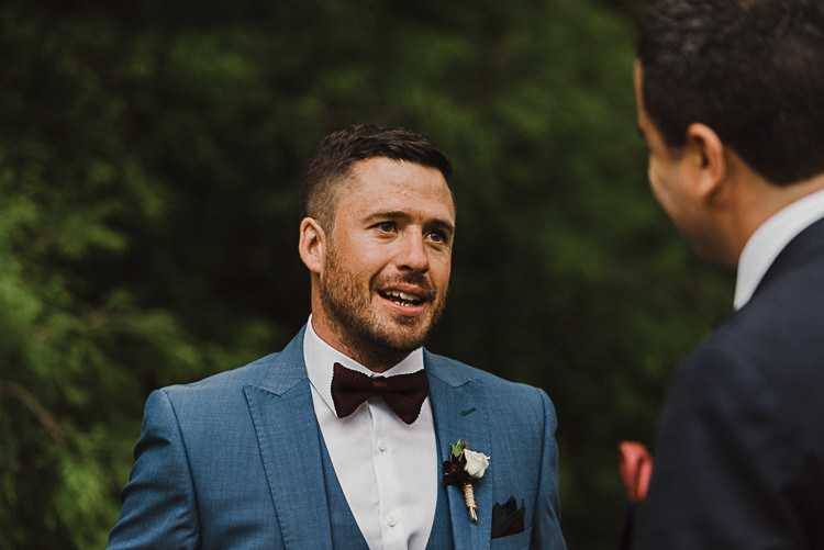 Blue Suit Bow Tie Groom Stylish Woodland Tipi Wedding Flower Arch https://willpatrickweddings.com/