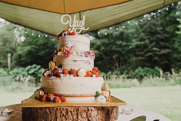 Buttercream Cake Log Fruit Macaron Flowers Stylish Woodland Tipi Wedding Flower Arch https://willpatrickweddings.com/