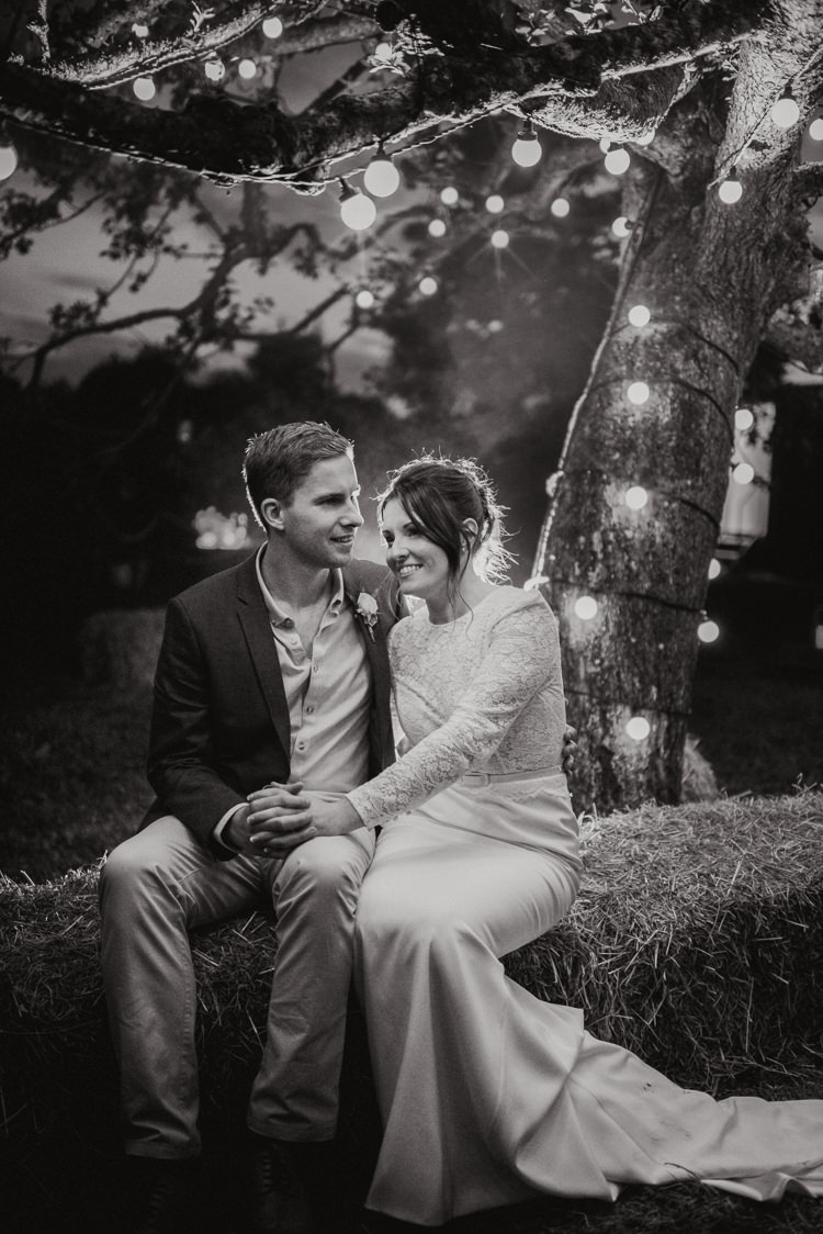 Festoon Lights Lighting Hay Bales Rustic Greenery White Apple Orchard Wedding http://bigbouquet.co.uk/