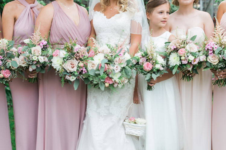 Bouquets Flowers Bride Bridal Bridesmaids Pink Rose Peony Astilbe Simple Natural Honest Marquee Wedding https://www.gemmagiorgio.com/