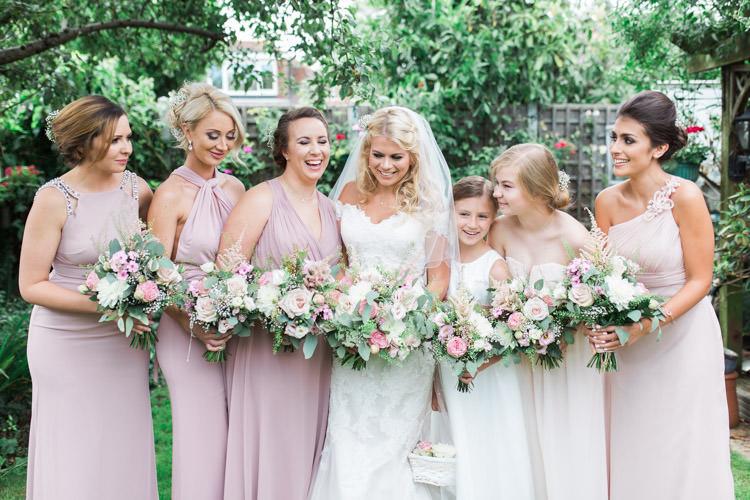 Pink Mismatched Bridesmaid Dresses Simple Natural Honest Marquee Wedding https://www.gemmagiorgio.com/