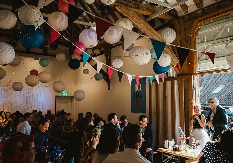Lanterns Bunting Barn Decor Super Cool Informal Party Wedding http://www.luisholden.com/