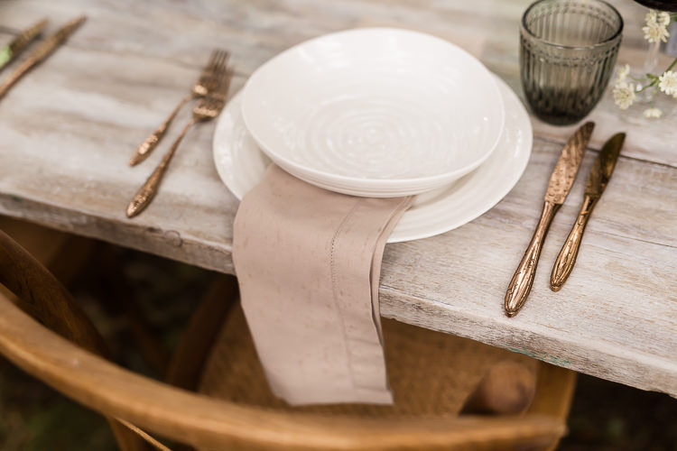 Outdoor Table Festoon Lights Tablescape Decoration White Green Place Setting Brass Linen Organic Rustic Greenery Wedding Ideas http://sarahbrookesphotography.com/