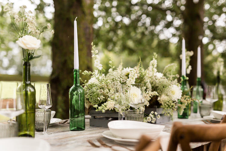 Outdoor Table Festoon Lights Tablescape Decoration White Green Crate Flowers Organic Rustic Greenery Wedding Ideas http://sarahbrookesphotography.com/