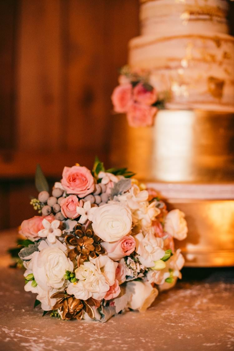 Winter Bouquet Blush Pink Roses Gold Succulents White Berries | Festive Glamour Christmas New Years Eve Wedding http://www.stevendrayimages.com/