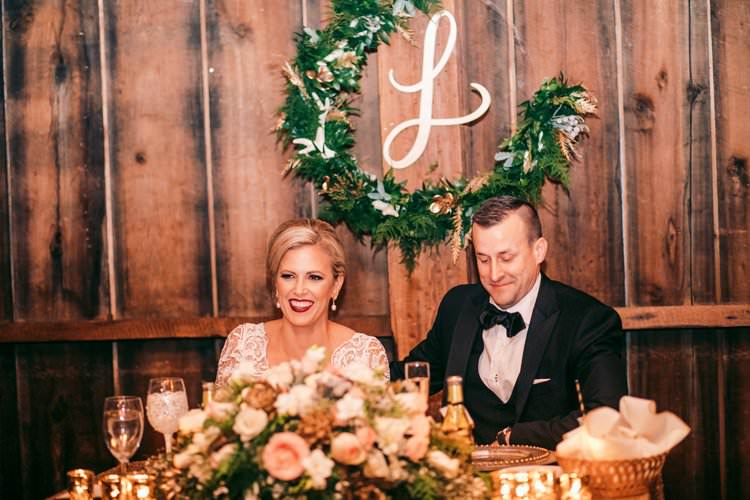 Bride Groom Top Table Bespoke Monogram Winter Wreath | Festive Glamour Christmas New Years Eve Wedding http://www.stevendrayimages.com/