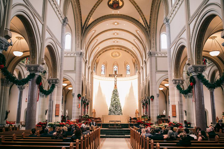 Christmas Church Garland Decor Tree Red Green Aisle | Festive Glamour Christmas New Years Eve Wedding http://www.stevendrayimages.com/
