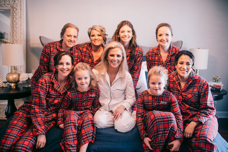 Bridal Party Prep Pyjamas Check Red Bridemaids Flower Girls | Festive Glamour Christmas New Years Eve Wedding http://www.stevendrayimages.com/