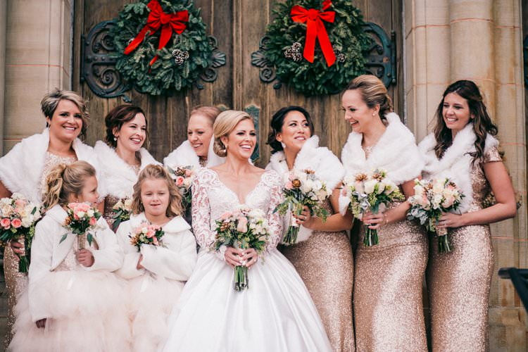 Winter Wreaths Decor Sequin Bride Bridesmaids Fur Tulle Blush | Festive Glamour Christmas New Years Eve Wedding http://www.stevendrayimages.com/