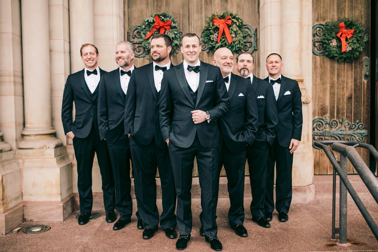 Winter Groom Ushers Best Man Groomsmen Navy Suits Bow Ties | Festive Glamour Christmas New Years Eve Wedding http://www.stevendrayimages.com/