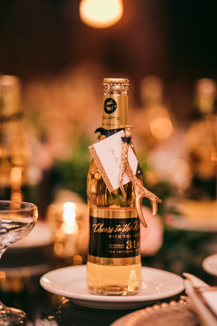 Gold Cider Bottle Table Antler Garland Foliage Decor Bespoke | Festive Glamour Christmas New Years Eve Wedding http://www.stevendrayimages.com/