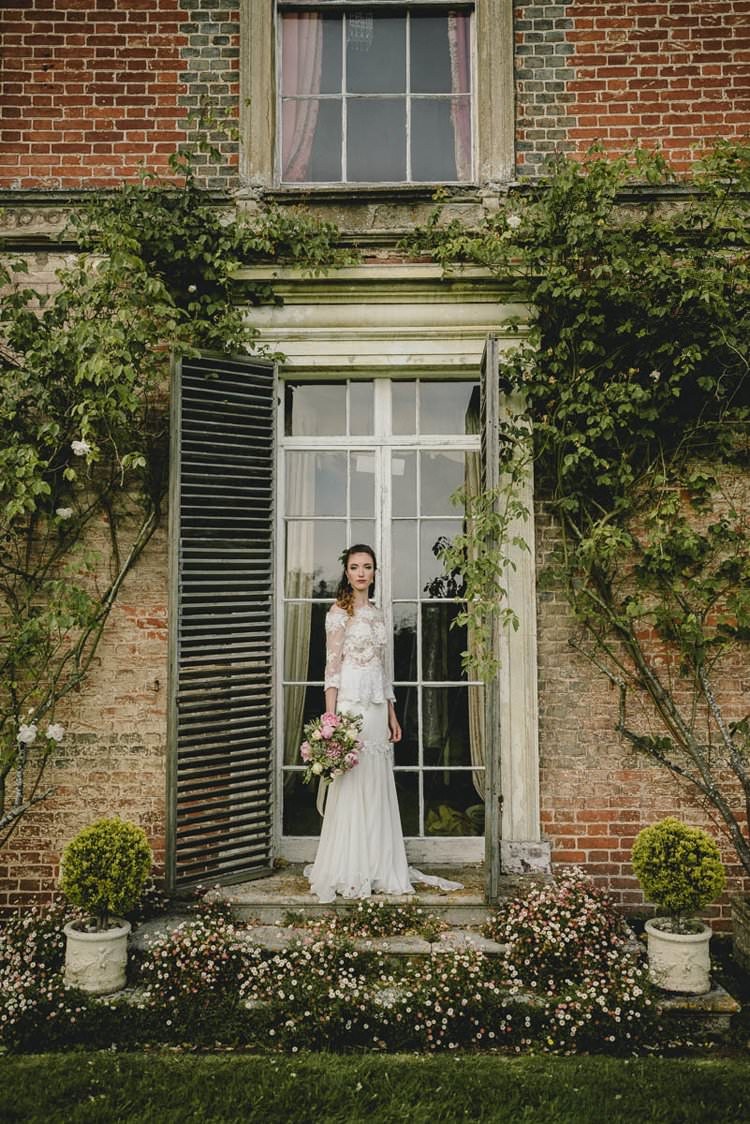 Dress Gown Bride Bridal Train Lace Sleeves Romantic Luxe Wedding Ideas in the Country http://benjaminmathers.co.uk/