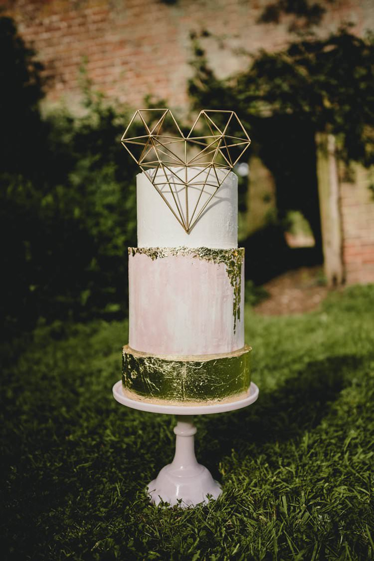 Pink Gold Blush Cake Metallic Heart Romantic Luxe Wedding Ideas in the Country http://benjaminmathers.co.uk/