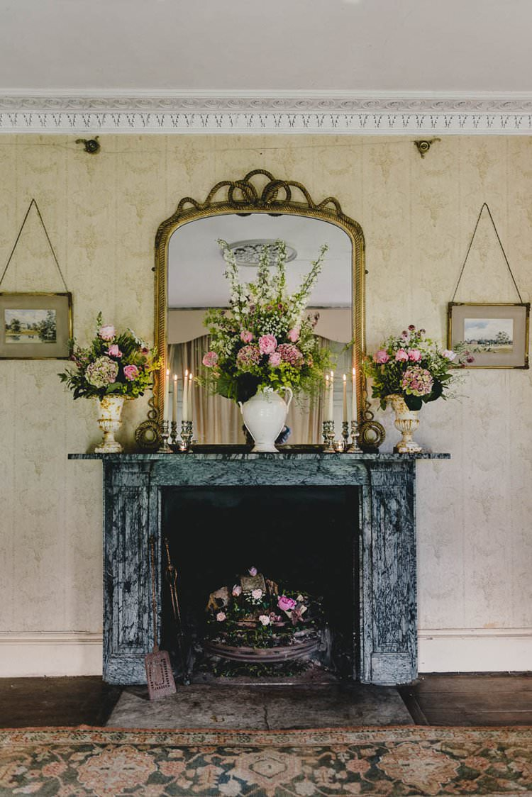 Fireplace Mantle Flowers Romantic Luxe Wedding Ideas in the Country http://benjaminmathers.co.uk/