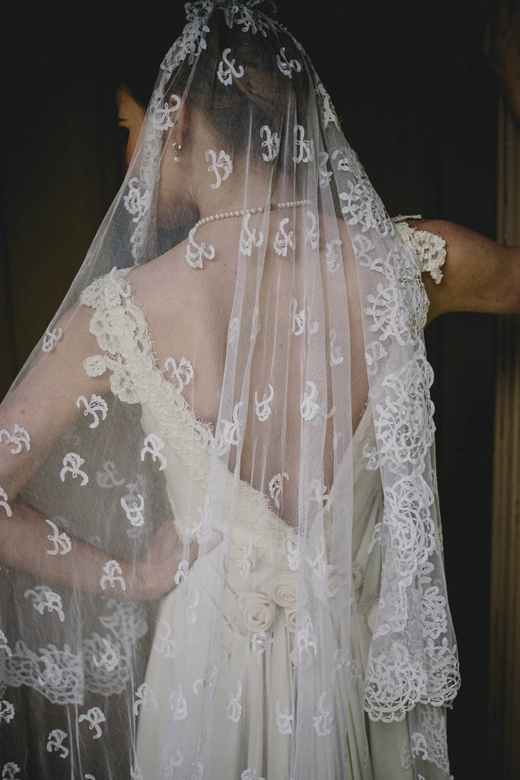 Dress Gown Bride Bridal Train Flowers Back Lace Veil Romantic Luxe Wedding Ideas in the Country http://benjaminmathers.co.uk/