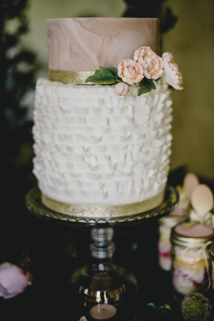 Pink Gold Blush Cake Metallic Heart Flowers Dessert Table Ruffle Romantic Luxe Wedding Ideas in the Country http://benjaminmathers.co.uk/
